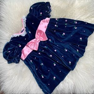 Vintage Blue Velvet with Roses and Bow Dress